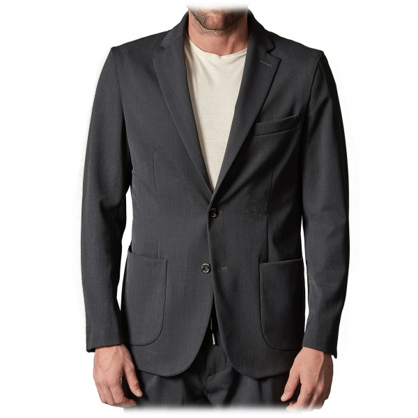 Cruna - Technical Wool Chelsea Jacket - 648 - Ardesia - Handmade in Italy - Luxury High Quality Jacket
