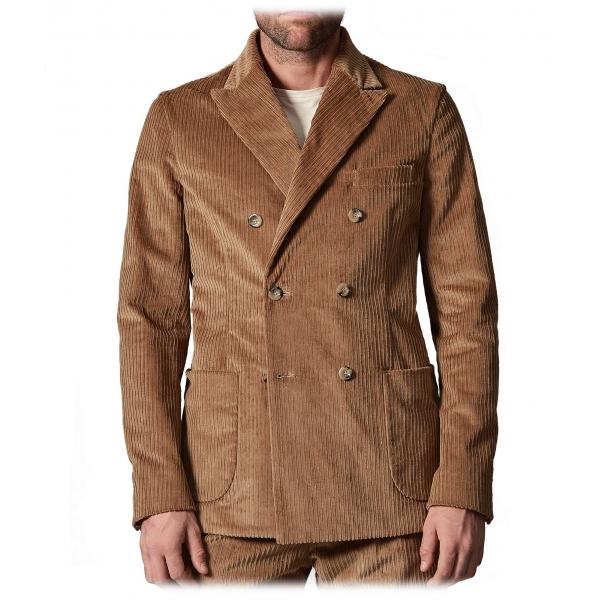Cruna - Chelsea Jacket in Corduroy - 611 - Cognac - Handmade in Italy - Luxury High Quality Jacket