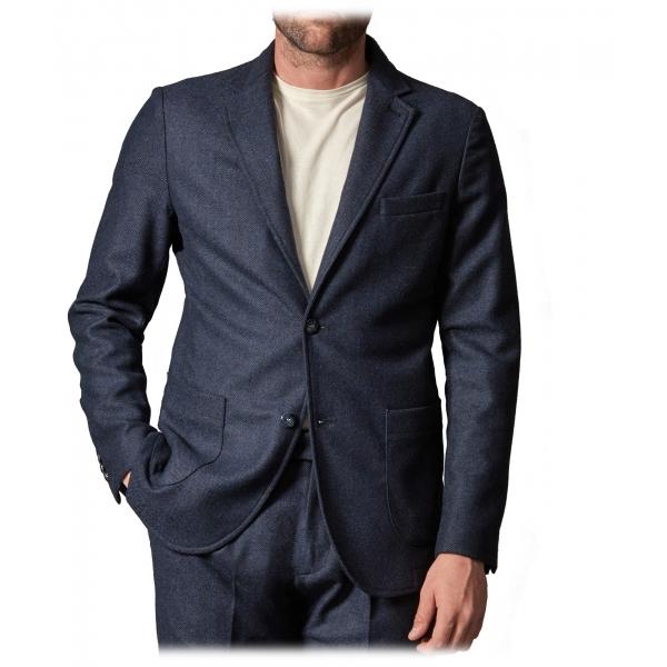 Cruna - Chelsea Jacket in Herringbone Wool - 478 - Royal Blue - Handmade in Italy - Luxury High Quality Jacket