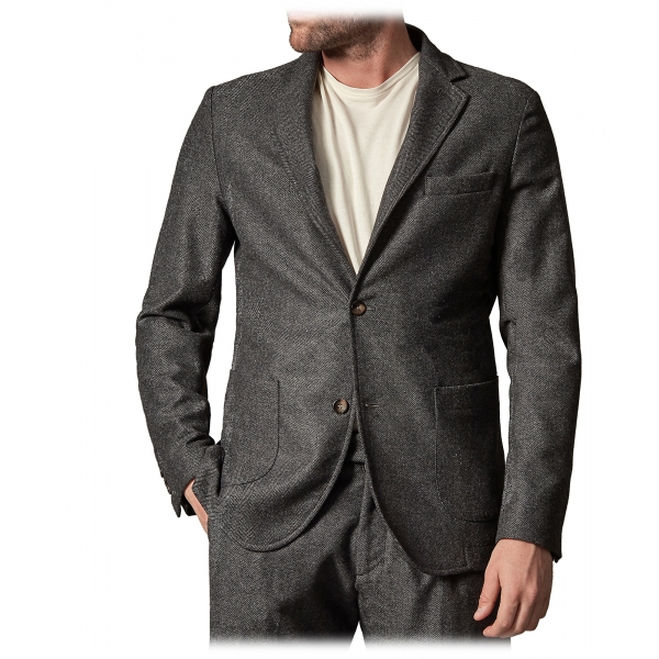 Cruna - Chelsea Jacket in Herringbone Wool - 478 - Grey - Handmade in Italy - Luxury High Quality Jacket