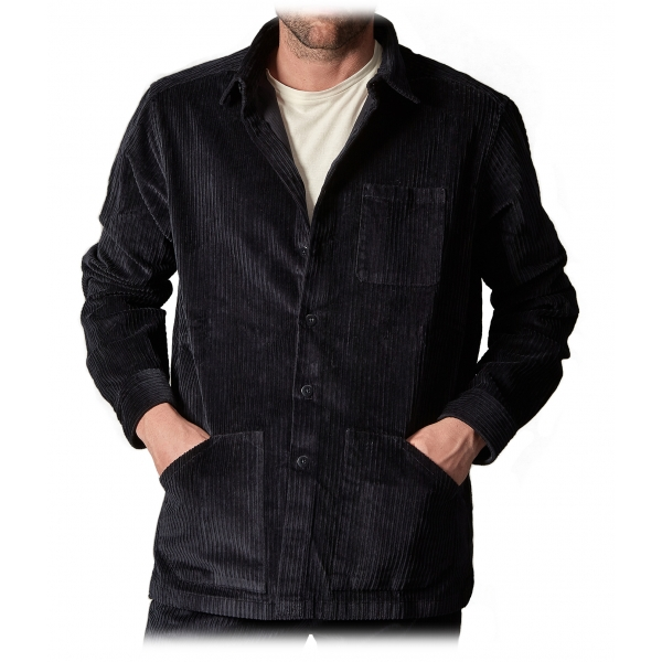 Cruna - Monti Over Shirt in Jumbo Cotton Corduroy - 611 - Night Blue - Handmade in Italy - Luxury High Quality Jacket