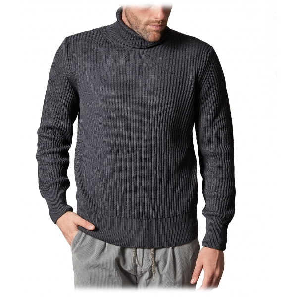Cruna - Rollneck Sweater in Wool - 657 - Ardesia - Handmade in Italy - Luxury High Quality Sweater