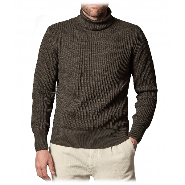 Cruna - Rollneck Sweater in Wool - 657 - Forest Green - Handmade in Italy - Luxury High Quality Sweater