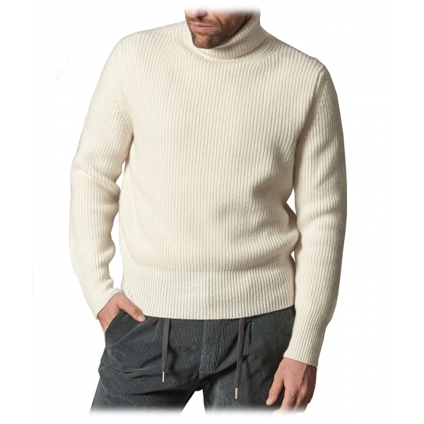 Cruna - Rollneck Sweater in Wool - 657 - Butter White - Handmade in Italy - Luxury High Quality Sweater