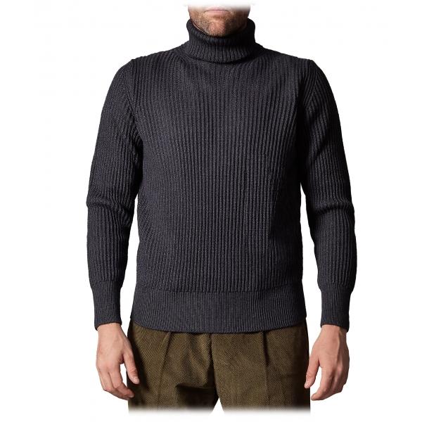Cruna - Rollneck Sweater in Wool - 657 - Night Blue - Handmade in Italy - Luxury High Quality Sweater