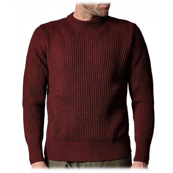 Cruna - Crewneck Sweater in Wool - 657 - Borgogna Red - Handmade in Italy - Luxury High Quality Sweater