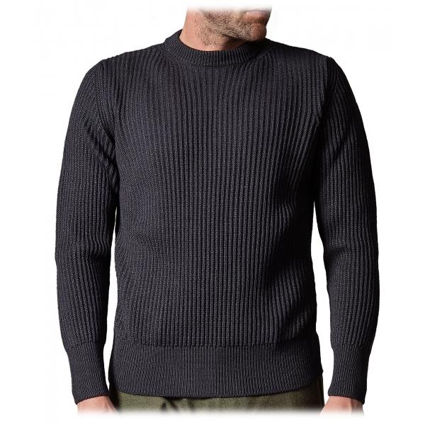 Cruna - Crewneck Sweater in Wool - 657 - Night Blue - Handmade in Italy - Luxury High Quality Sweater