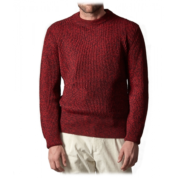 Cruna - Crewneck Sweater in Wool - 499 - Red - Handmade in Italy - Luxury High Quality Sweater