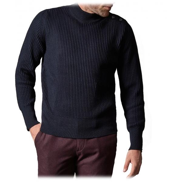 Cruna - Volcano Sweater in Wool - 498 - Navy Blue - Handmade in Italy - Luxury High Quality Sweater