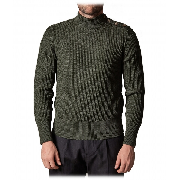 Cruna - Volcano Sweater in Wool - 498 - Forest Green - Handmade in Italy - Luxury High Quality Sweater