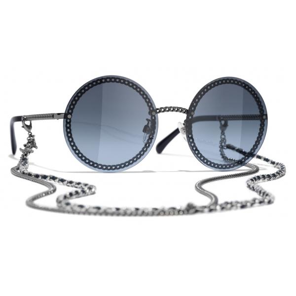 Chanel - Occhiali Rotondi da Sole - Argento Scuro Blu - Chanel Eyewear