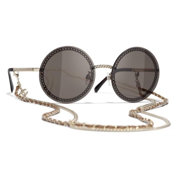 Chanel - Occhiali Rotondi da Sole - Oro Marrone - Chanel Eyewear