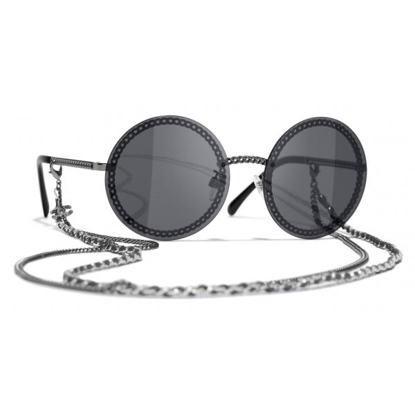 Chanel - Occhiali Rotondi da Sole - Argento Grigio Scuro - Chanel Eyewear