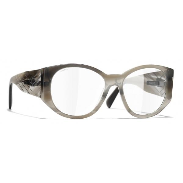 Chanel - Occhiali Ovali da Sole - Grigio Trasparente - Chanel Eyewear
