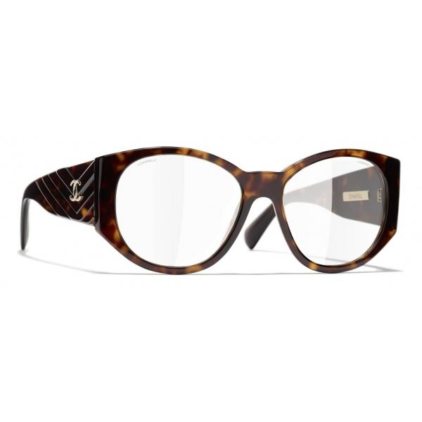 Chanel - Occhiali Ovali da Sole - Tartaruga Scuro Trasparente - Chanel Eyewear