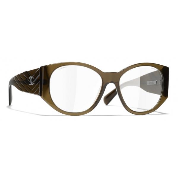 Chanel - Occhiali Ovali da Sole - Kaki Trasparente - Chanel Eyewear