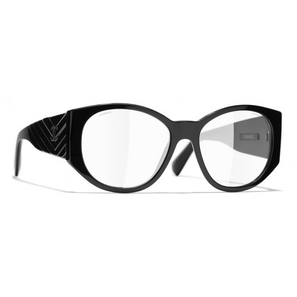 Chanel - Occhiali Ovali da Sole - Nero Trasparente - Chanel Eyewear