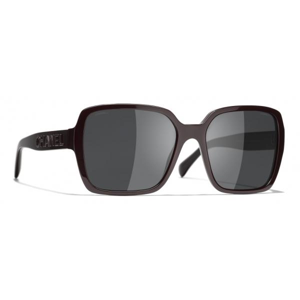 Chanel - Occhiali Quadrati da Sole - Rosso Scuro Grigio - Chanel Eyewear