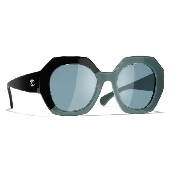 Chanel - Occhiali Rotondi da Sole - Nero Verde Blu - Chanel Eyewear