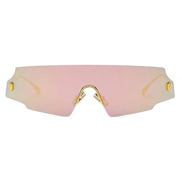 Fendi - Fendi Forceful - Shield Sunglasses - Rose Gold - Sunglasses - Fendi Eyewear