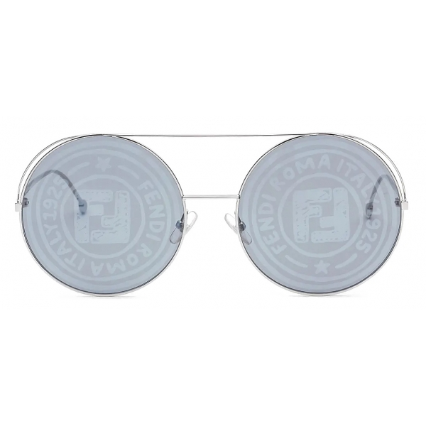 Fendi - Run Away - Round Oversize Sunglasses - Gray Silver - Sunglasses - Fendi Eyewear