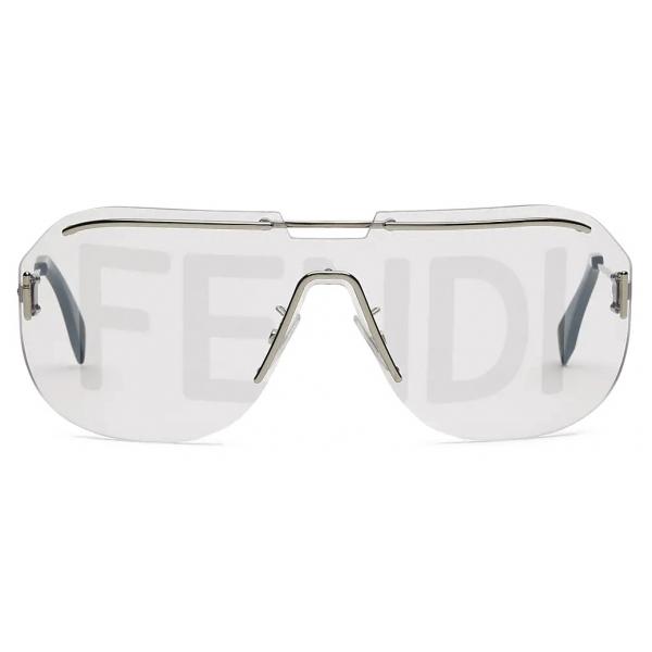 Fendi - Fendi Code - Shield Sunglasses - Silver - Sunglasses - Fendi Eyewear