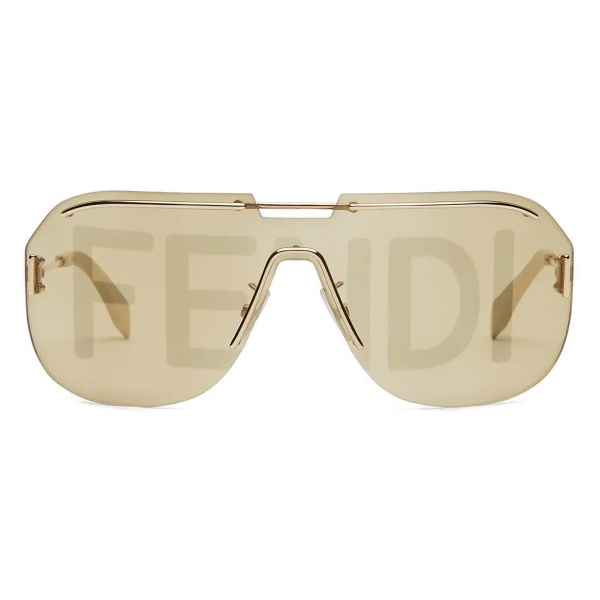 Fendi - Fendi Code - Shield Sunglasses - Gold - Sunglasses - Fendi Eyewear