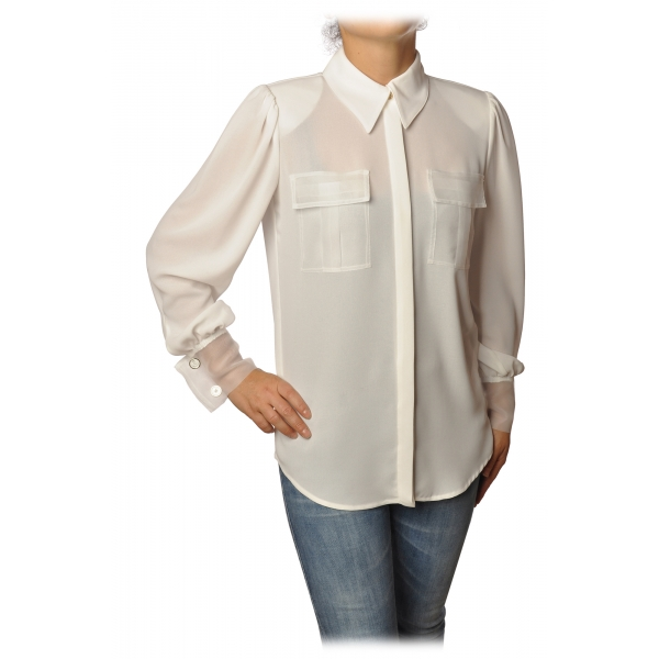 Elisabetta Franchi - Shirt with Long Sleeve - White - Shirt - Made in Italy - Luxury Exclusive Collection