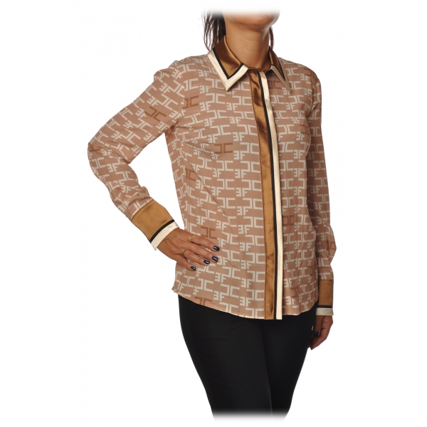Elisabetta Franchi - Shirt with Long Sleeve - Camel - Shirt - Made in Italy - Luxury Exclusive Collection
