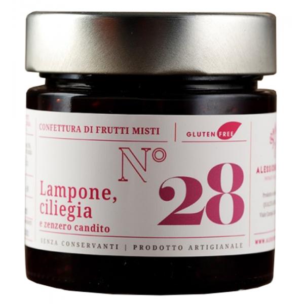 Alessio Brusadin - Crema Extra di Lampone Senza Semi, Ciliegie e Zenzero Candito - Confetture Speciali - Composte Artigianali