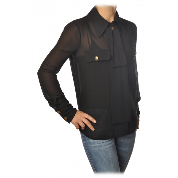 Elisabetta Franchi - Camicia Manica Lunga - Nera - Camicia - Made in Italy - Luxury Exclusive Collection