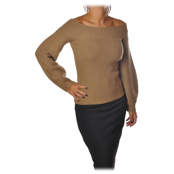 Elisabetta Franchi - Sweater Wide Sleeves - Camel - Sweater - Made in Italy - Luxury Exclusive Collection