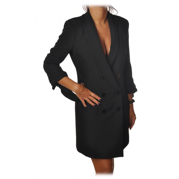 Elisabetta Franchi - Redingote Model with Double-Breasted Jacket - Black - Dress - Made in Italy - Luxury Exclusive Collection